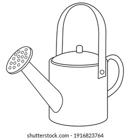 Watering can line vector illustration, isolated on white background.Top view