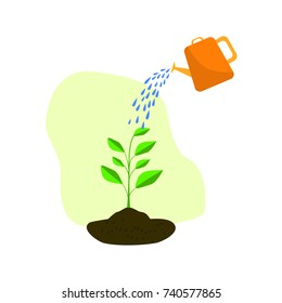 Watering can with plant vector icon. flat design