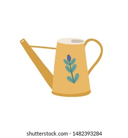 Watering can or pot decorated by cute flower isolated on white background. Simple gardening tool or agricultural implement used in horticulture and plant cultivation. Flat cartoon vector illustration.