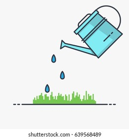 Watering can sprays water drops above lawn. Thin line vector style illustration.