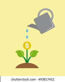 Watering money business concept on yellow background