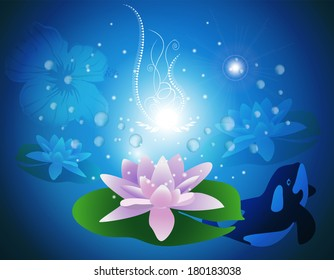 Waterlilies with glowing light