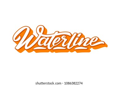 Waterline text for logotype, badge and icon. Vector illustration for design t-shirts, banners, labels, clothes, apparel, extreme sports competition. Vector illustration of handwritten lettering.