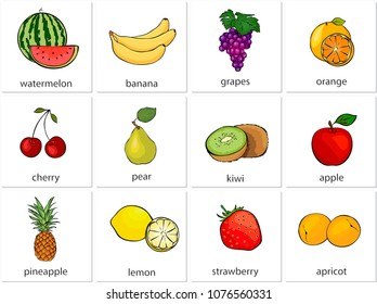 Watermelon, banana, grapes, orange, cherry, pear, kiwi, apple, pineapple, lemon, strawberry, apricot. Cartoon illustration
