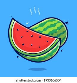 watermelon cartoon illustration Premium Vector