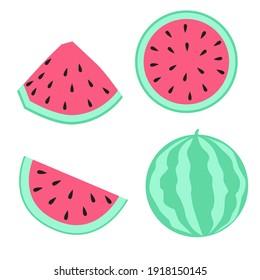 Watermelon cartoon symbool, vector illustration.