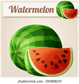 Watermelon. Cartoon vector icon. Series of food and drink and ingredients for cooking.