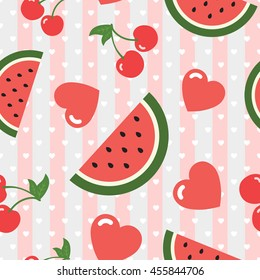 Watermelon Cherry and Heart Seamless Pattern