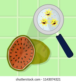 Watermelon contaminated with cartoon microbes being cleaned and washed in a kitchen. Microorganisms, virus and bacteria in the fruit enlarged by a magnifying glass. Running tap water.