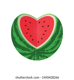 Watermelon cut in the shape of heart. Vector stock flat illustration isolated on white background