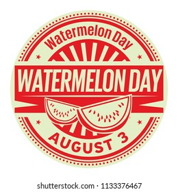 Watermelon Day, August 3, rubber stamp, vector Illustration