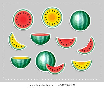 Watermelon fashion patch badges in 80s-90s style. Summer food stickers. Vector illustration