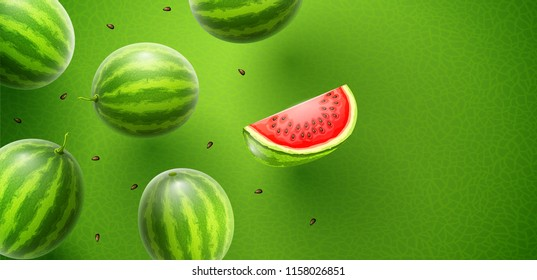 Watermelon flavour poster banner design with pattern and copyspace. Whole fresh ripe sweet fruit with sliced juicy piece of cut. Watermelons realistic fruits, flying and falling. EPS10 vector.