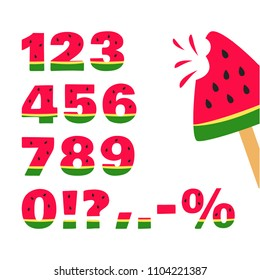 Watermelon font, summer numbers. Vector illustration