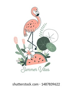 Watermelon fruity flamingo exotic tropical jungle poster illustration isolated on white. Rainforest wildlife inspired drawing for summer design.