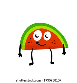 Watermelon. Funny character. The summer food. Mascot in hands and feet. Flat cartoon isolated on white