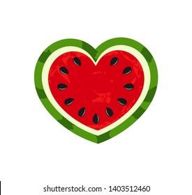 Watermelon heart summer fruit icon. Vector illustration.