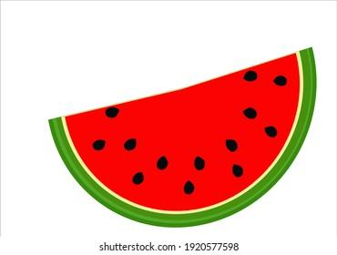 Watermelon icon. Juicy ripe fruit on white background