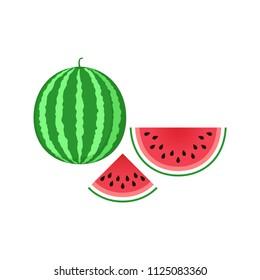 Watermelon icon. Sliced watermelon icon clip art. Clipart cartoon watermelon piece.
