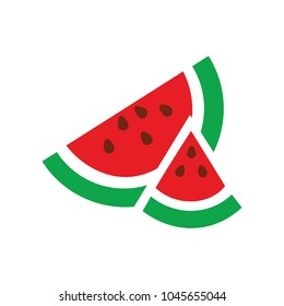 watermelon icon, vector fruit illustration, fresh watermelon slice