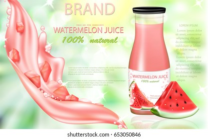 Watermelon juice ads, juice bottle and  watermelon slices, realistic  vector illustration.