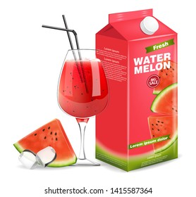 Watermelon juice box Vector realistic. Product placement label design. Fresh drink isolated on white