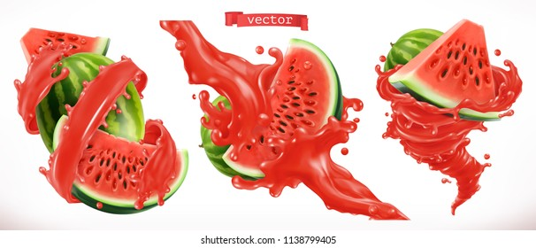Watermelon juice. Fresh fruit 3d realistic vector icon