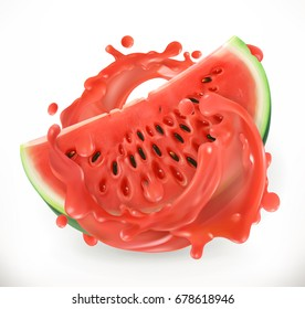 Watermelon juice. Fresh fruit. 3d realism, vector icon.