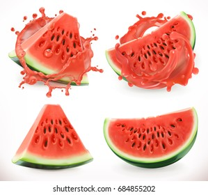Watermelon juice. Fresh fruit, 3d realistic vector icon