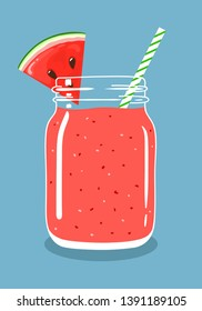 Watermelon juice smoothie in mason jar with slice of fresh watermelon and swirled straw isolated on background. Fresh natural healthy fruit and berry drink. Vector hand drawn illustration eps10.
