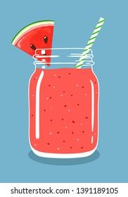 Wassermelonsaft-Smoothie in Mason-Glas mit Scheiben frischer Wassermelone und wirbelndem Stroh einzeln auf Hintergrund. Frische natürliche Früchte und Beerengetränke. Vektorgrafik, handgezeichnet, eps10.
