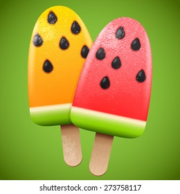 Watermelon juicy ice cream, bright homemade frozen popsicle; vector realistic graphic  icon