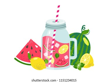 Watermelon lemonade in glass jar with slice lemon, ice ,mint, watermelon, straw. Fresh summer fruit drink. Sweet and natural juice. Healthy homemade lemonade,  detox, smoothie. Vector illustration