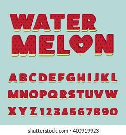 Watermelon letters set