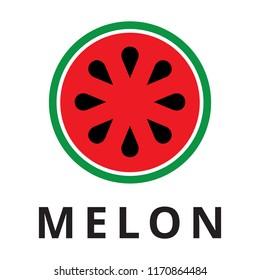 Watermelon logo. Flat stile fruit icon isolated on white background.