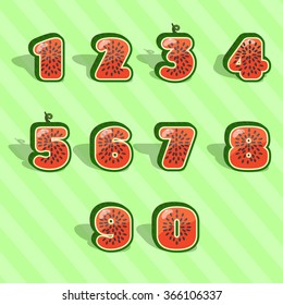 watermelon numbers 1234567890 in vector