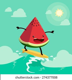 watermelon on surf board. One of the popular summer's activities
