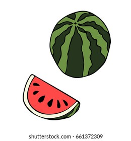 Watermelon on white background vector illustration. Doodle style. Design icon, print, logo, poster, symbol, decor, textile, paper, card.