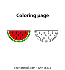 watermelon painting page, game for children (kids)