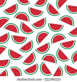 Watermelon pattern. Flat icon slices of watermelon. Vector illustration.