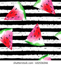 Watermelon pattern on striped background. Watercolor seamless print. Vector illustration