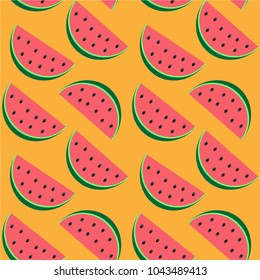 Watermelon pattern on a yellow background.