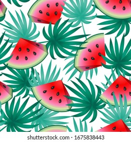 Watermelon pattern. Tropical summer print. Vector texture
