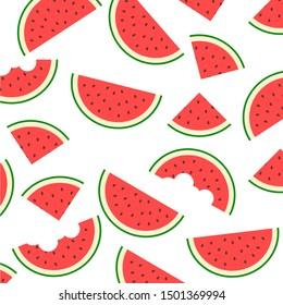Watermelon pattern vector. Flat design.