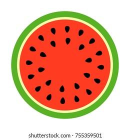 Watermelon round slice vector icon