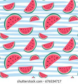 Watermelon Seamless Pattern Colorful Summer Ornament Background Style Vector Illustration