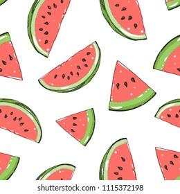 Watermelon seamless pattern. Hand drawn watermelon slice. Vector illustration. Vintage illustration.