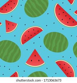 Watermelon seamless pattern on blur background