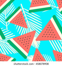 Watermelon seamless pattern with palm leaves.Vector fruit background design for web, print, textile.