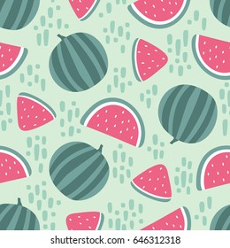Watermelon seamless pattern with stains on green background. Vector illustration